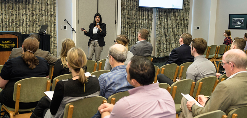 Madhavi Kadakia, Ph.D., presenting at the 2016 Central Research Forum