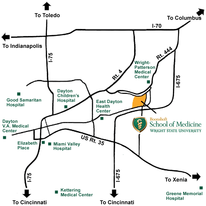 Dayton area map with hospitals