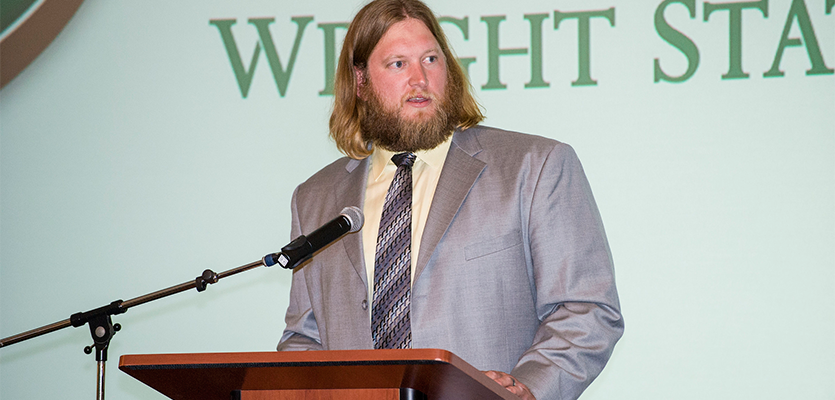 Nick Mangold speaks at the 2015 Academy dinner