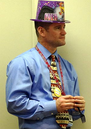 Dr. Clifton Nowell in birthday hat