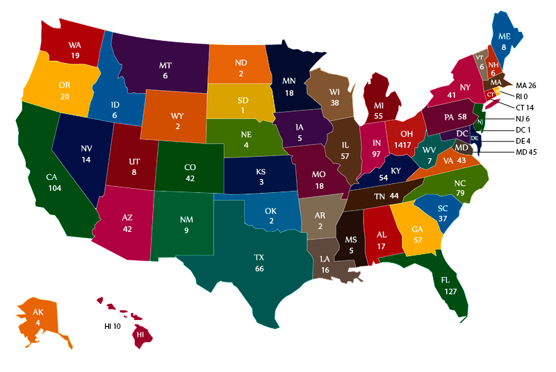 map of alumni across the nation
