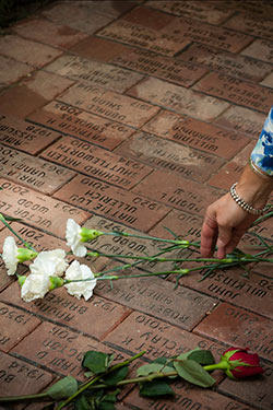 memorial brick pathway used by the body donor program at Wright State