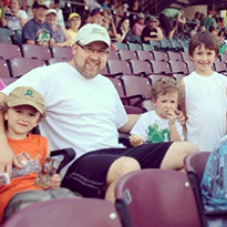 Jake and sons at Dayton Dragons game