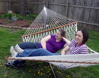 two residents in a hammock