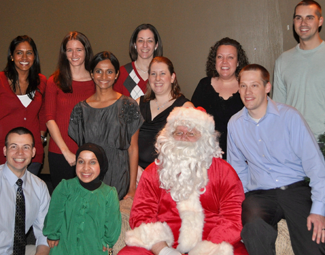 residents at Christmas party with Santa