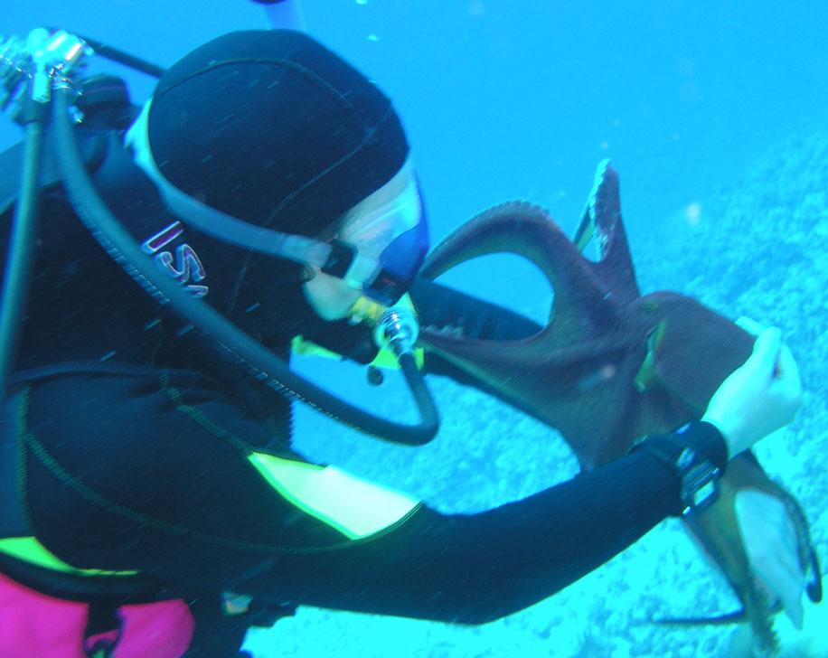 a resident scuba diving