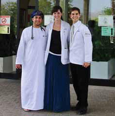 photo of Boonshoft School of medicine students T.J. Klein, Kelsey Black, and Jeffrey Zabinski