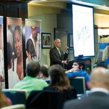 photo of Dr. Hopkins at First Annual Neuroscience Institute Symposium