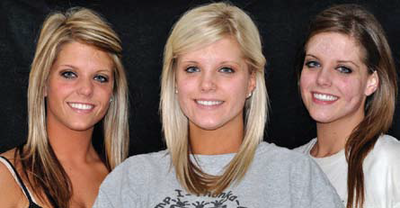 Photo of triplets Jordan, Trae, and Chandra Berns who came to Waibel for a series of fractional laser treatments