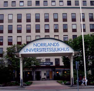 Photo of Norrlands University Hospital in Umeå, Sweden where students spent two weeks working and learning