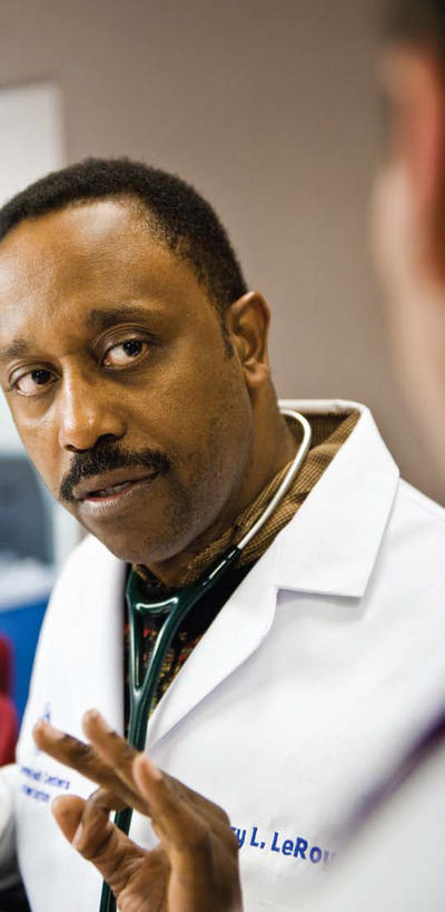 Photo of Gary LeRoy, M.D., who remains active in family medicine practice in addition to serving as an associate dean with the medical school.