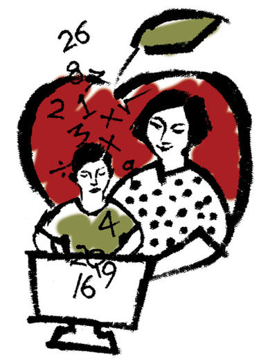 Graphic of a teacher with a student