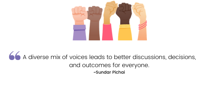 A diverse mix of voices leads to better discussions, decisions, and outcomes for everyone.—Sundar Pichai