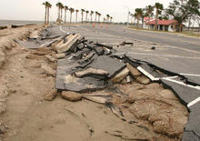 Damaged Mississippi parking lot following Hurricane Katrina