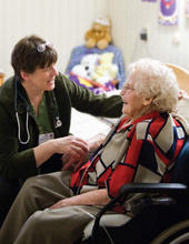 Photo of Cynthia Olsen, M.D., enjoying the opportunity to forge long-term relationships with her patients as she cares for them over the course of many years or even decades.