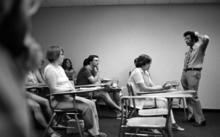 Photo of an early classroom in the medical school