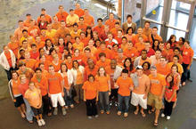 Photo of McCluskey's classmates wearing orange